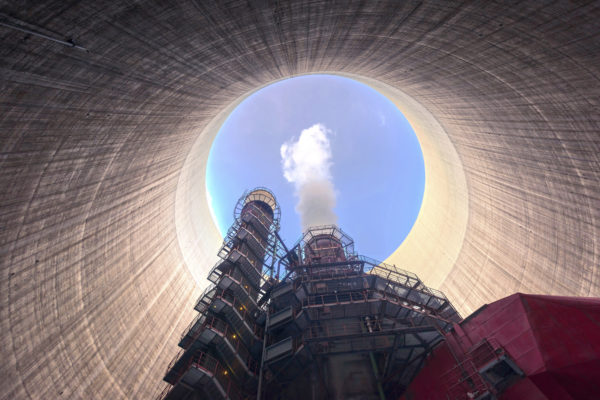 Inside a cooling tower at a power plant